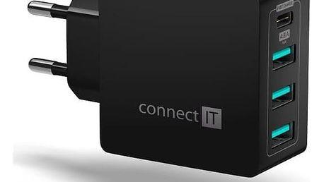 Nabíječka do sítě Connect IT Fast Charge 3x USB + 1x USB-C, 4,8A s funkcí rychlonabíjení černá (CWC-4060-BK)