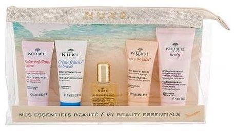 NUXE Huile Prodigieuse Multi Purpose Dry Oil Face, Body, Hair dárková kazeta pro ženy suchý olej Huile Prodigieuse 10 ml + pleťový peeling 15 ml + denní pleťová péče 15 ml + krém na ruce 15 ml + sprchový gel 30 ml + taštička