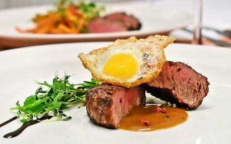 5chodové menu se dvěma druhy steaků pro dva