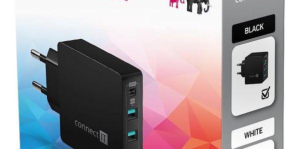 Nabíječka do sítě Connect IT Fast Charge 3x USB + 1x USB-C, 4,8A s funkcí rychlonabíjení (CWC-4060-BK) černá2