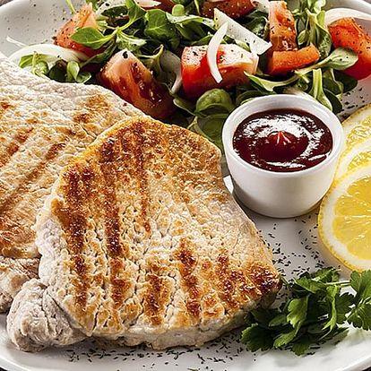 Vepřové a kuřecí steaky s přílohou + zmrzlinový pohár a espresso pro 2-6 osob ve Strašnicích.