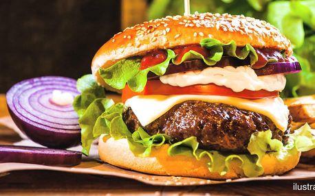 Pivní nebo Kozlův burger a příloha pro 1 i 2 os.