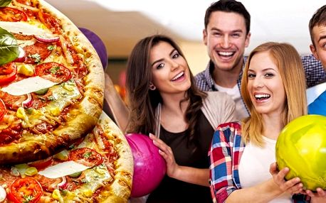 Hodina bowlingu až pro 6 osob a 2 pizzy dle výběru