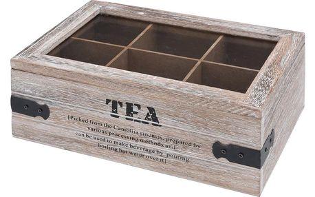 Emako Dřevěný box na čaj TEA, 6 přihrádek