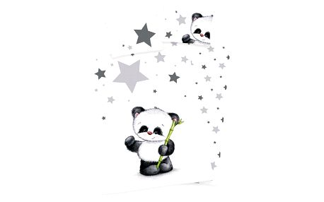 Herding Dětské povlečení do postýlky Jana Star Panda, 135 x 100 cm, 40 x 60 cm