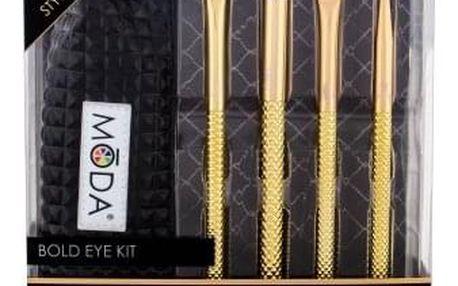 Royal & Langnickel Moda Metallics Bold Eye dárková kazeta pro ženy štětec na oční stíny 1 ks + štětec na oční kontury 1 ks + štětec na linku 1 ks + štětec na obočí 1 ks + cestovní pouzdro