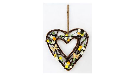 Proutěná závěsná dekorace Srdce, 26 cm