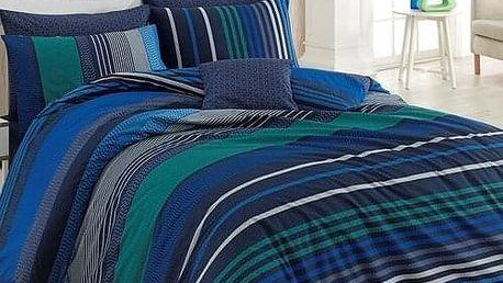 TipTrade Bavlněné povlečení Marley modrá, 220 x 200 cm, 2 ks 70 x 90 cm