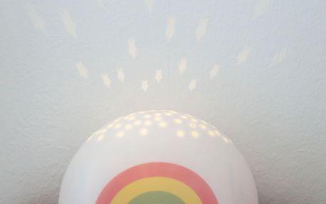 A Little Lovely Company Lampička s projektorem noční oblohy Rainbow, bílá barva, plast