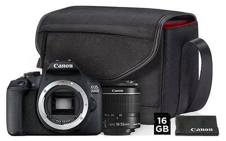 Digitální fotoaparát Canon EOS 2000D + 18-55 IS II + SB130 + 16GB karta černý (2728C013AA)