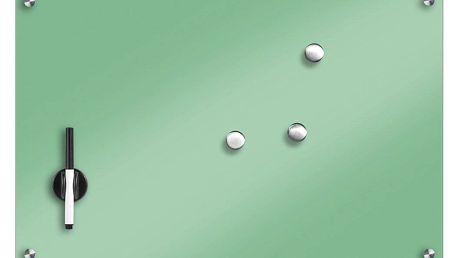 Skleněná magnetická tabule, barva mentolová + 3 magnety, 60x40 cm, ZELLER