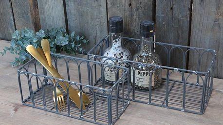 Chic Antique Drátěný úložný košík Antique Zinc Větší, šedá barva, kov