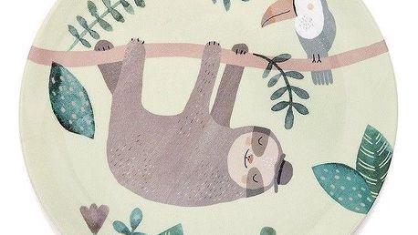 PETIT MONKEY Dětský melaminový talíř Sloth, zelená barva, melamin