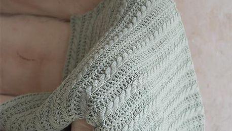Jeanne d'Arc Living Pletený bavlněný přehoz Dusty Green, zelená barva, textil