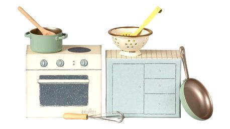 Maileg Sada kuchyňských doplňků pro zvířátka Maileg, modrá barva, béžová barva, kov, papír