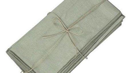 Chic Antique Látkové ubrousky Amiens Verte set 6 kusů, zelená barva, textil