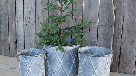 Chic Antique Plechový obal na květiny Drummer Velikost L, šedá barva, kov