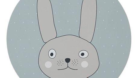OYOY Silikonové prostírání Rabbit, modrá barva, plast