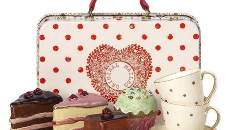 Maileg Sada dortíků a šálků Suitcase, multi barva