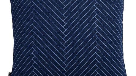 OYOY Polštář Herringbone Dark blue 50x50 cm, modrá barva, textil