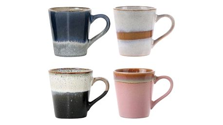 HK living Keramický hrneček na espresso 70's - set 4ks, multi barva, keramika