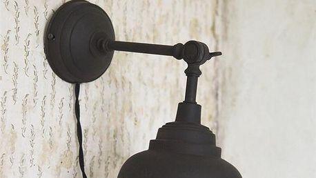 Jeanne d'Arc Living Nástěnná lampa Fine Dark Metal, černá barva, kov