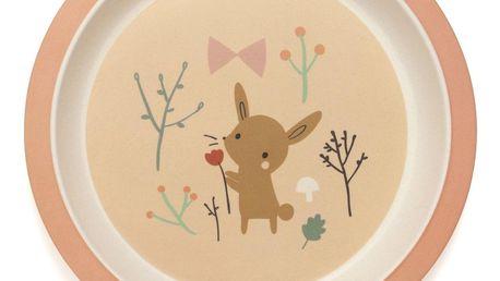 PETIT MONKEY Dětský bambusový talíř Bamboo Bunny, oranžová barva, dřevo