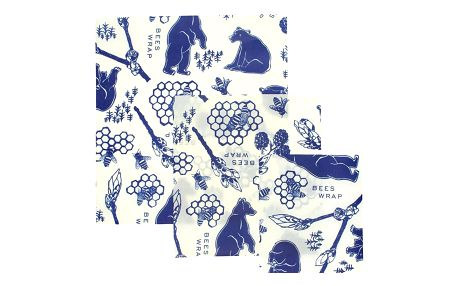 Bee's Wrap Ekologické potravinové ubrousky Bees & Bears - set 3 ks, modrá barva, textil