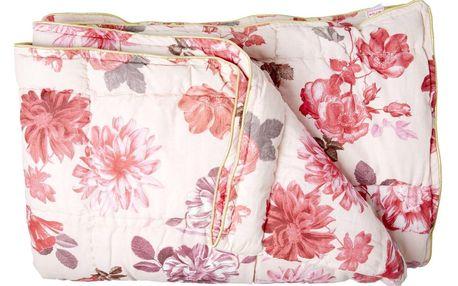 rice Bavlněný přehoz Rose 220x140cm, růžová barva, krémová barva, textil