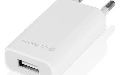 Nabíječka do sítě GoGEN ACH 100, 1x USB, 1A bílá (GOGACH100W)
