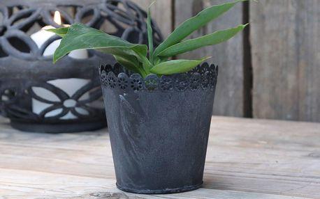 Chic Antique Plechový obal na květiny Lace, černá barva, kov 11cmx12cm