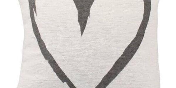 Dakls Povlak na polštář Heart bílá, 40 x 40 cm