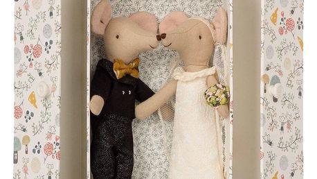 Maileg Myšky v krabičce - ženich a nevěsta, béžová barva, papír, textil