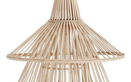 MADAM STOLTZ Bambusový lustr Natural, přírodní barva, dřevo