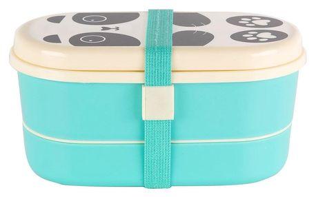 sass & belle Krabička na jídlo Bento box Panda, modrá barva, zelená barva, plast