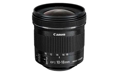 Objektiv Canon EF-S 10-18 mm f/4.5-5.6 IS STM + EW73C + LC kit černý (9519B009)