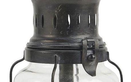 IB LAURSEN Kovová lucerna LED Lantern Glass, černá barva, sklo, kov, plast