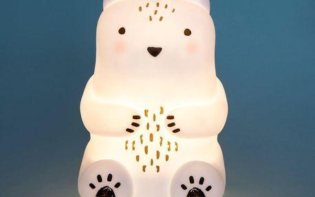 sass & belle Dětské noční světýlko White Teddy Bear, černá barva, bílá barva, plast
