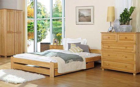Dřevěná postel Niwa 90x200 + rošt ZDARMA borovice