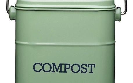 Kitchen Craft Kyblík na kompost Sage green 3,2 l, zelená barva, kov
