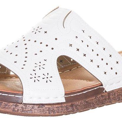 Minke Dámské pantofle šíře H na korkově platformě letní