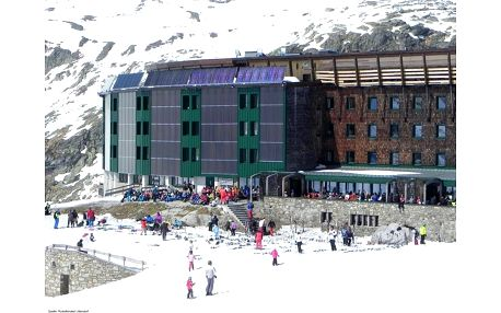 Horský hotel Rudolfshütte ve Weissse Gletscherwelt, Salcbursko