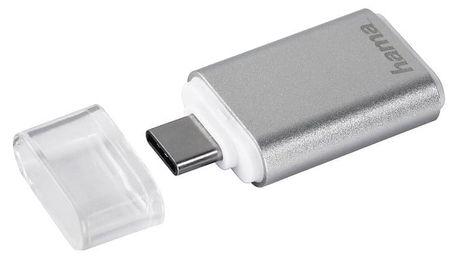 Čtečka paměťových karet Hama USB 3.1 typ C, OTG , microSD stříbrná