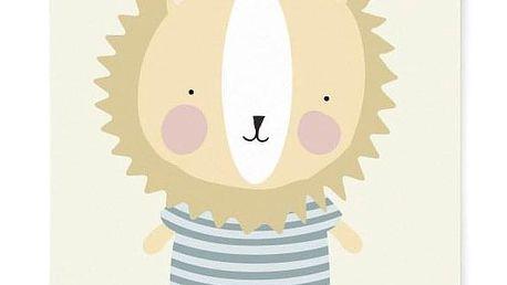 EEF lillemor Plakát do dětského pokojíčku Lion A3, béžová barva, papír