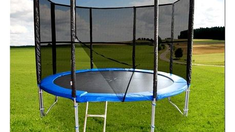 Modrá trampolína 305 cm s ochrannou sítí - nosnost 180 kg, žebřík