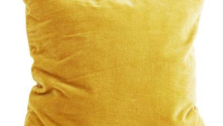 MADAM STOLTZ Sametový povlak na polštář Curry yellow 50x50, žlutá barva, textil