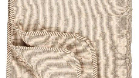 IB LAURSEN Prošívaná deka s proužky rustic stripes, hnědá barva, textil