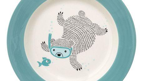 Bloomingville Keramický polévkový talíř Benjamin, modrá barva, béžová barva, keramika