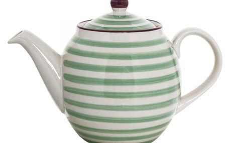 Bloomingville Keramická konvice Patrizia Green, zelená barva, béžová barva, keramika