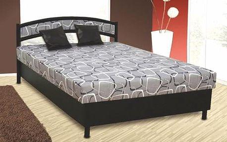 Čalouněná postel NIKOLA 140x200 cm vč. roštu, matrace a ÚP Ekokůže černá / šedá